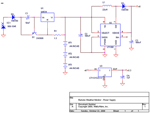 Solar Powered +5v and +3.3v Power Supply