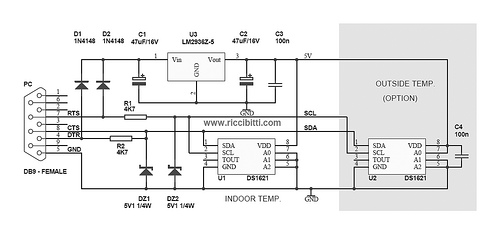 DS1621 PC Thermometer Requires No External Supply