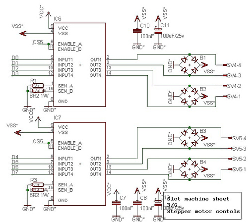 Slot machine sheet stepper motor controls