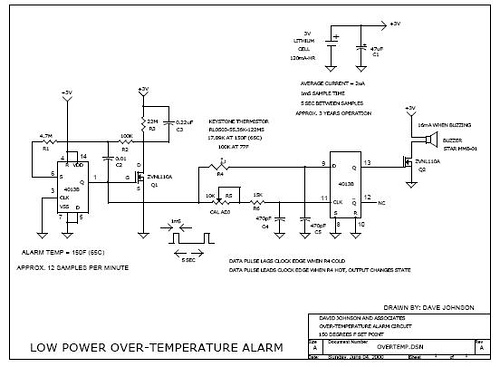 Micro power temperature alarm