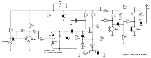 3V FM Transmitter for Short Distance 88MHz to 108MHz