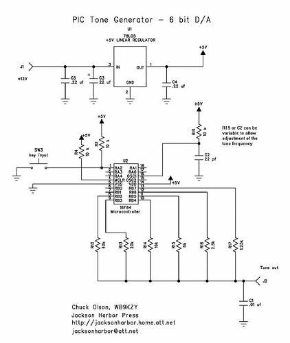 PIC16F84 tone generator