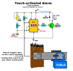 Touch activated alarm system