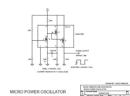 Micropower CMOS oscillator, draws only 0.5ua