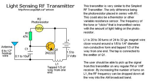 RF Transmitter, light sensing