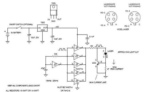 20mhz vcsel 3mw laser test circuit