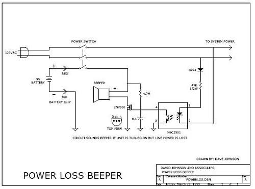 Machine power loss beeper
