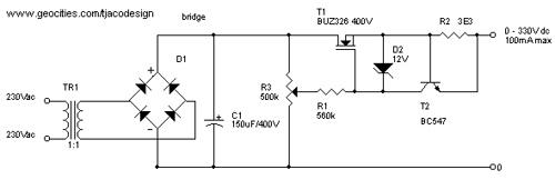 0 – 300V Adjustable Power suppy