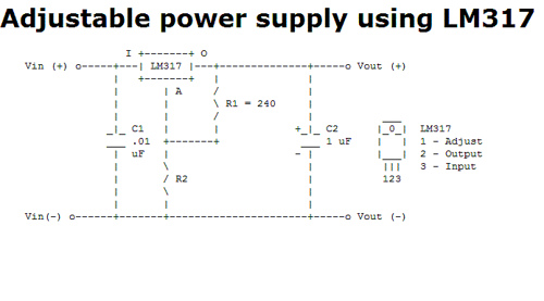 Adjustable power supply using LM317