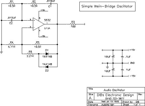 Simple wein-bridge oscillator.