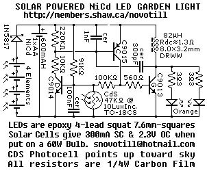 solar cell LED lamp with LDR photo cell and extra capacitor