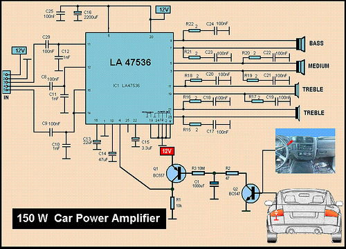 150W MP3 Car Amplifier