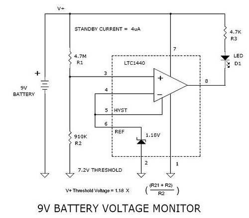 9v Battery Voltage Monitor