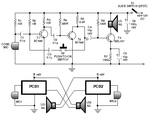 Low cost intercom using transistors