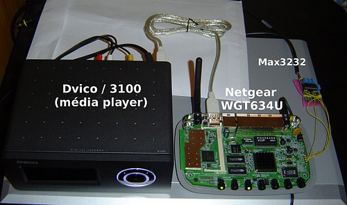 Media Player (Dvico 3100) with Netgear WGT634U becomes Cheap Wifi Media Player (OpenWRT client)
