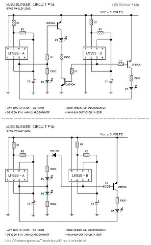 Various LM555 LED Blinker Circuits