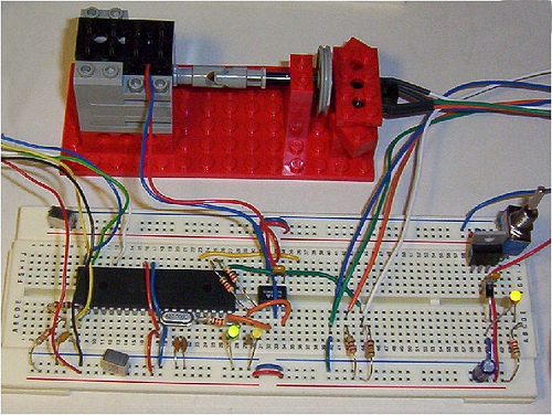 Cruise Control of a Lego motor using PIC16F877 and TC4427A