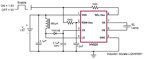 App note: HV823 & HV825 EL lamp driver circuits