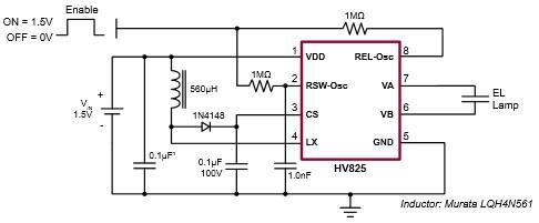 App note: HV823 & HV825 EL lamp driver circuits
