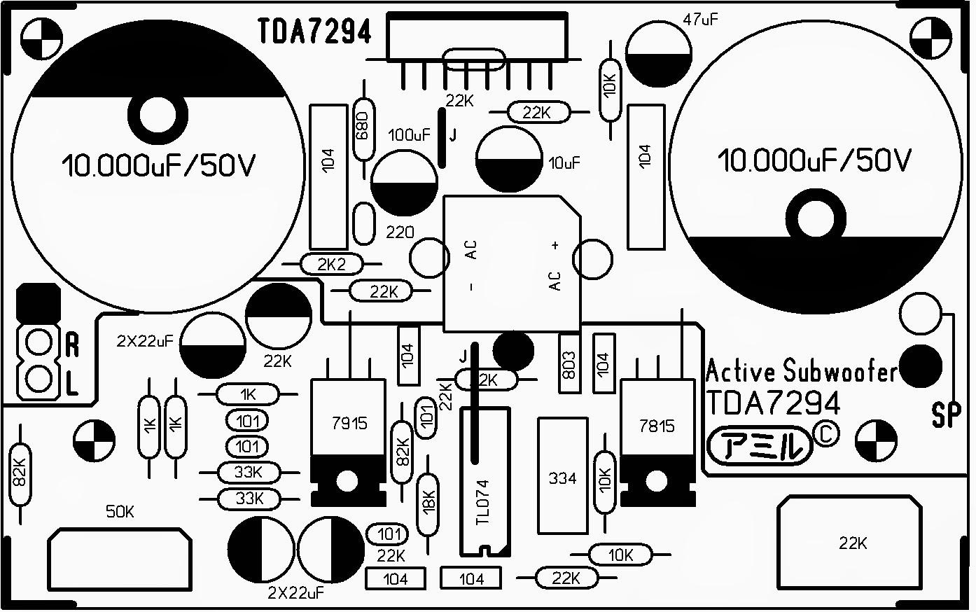Active subwoofer TDA7294 9