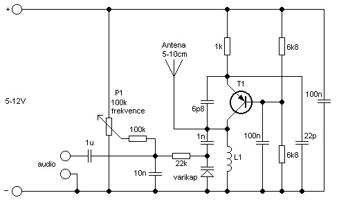 Single Transistor VCO FM Transmitter