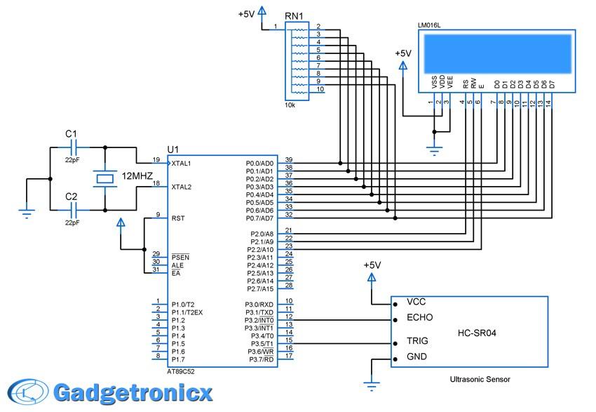 Ultrasonic Distance Meter Using Hc Sr04 And 8051 Electronics Infoline
