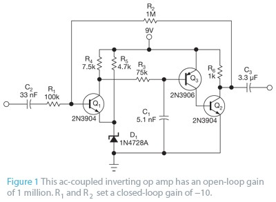 Build an op amp with three discrete transistors