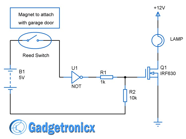 Automated Garage door lights circuit