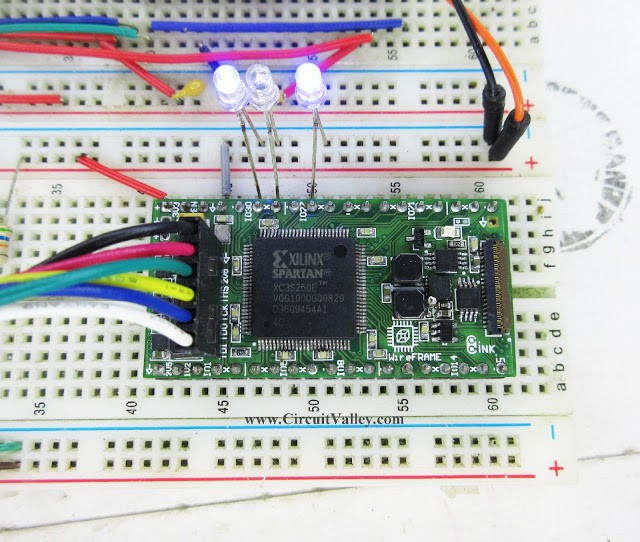 First Project with WireFrame FPGA Board LED Blinking Test – Binary Counter with VerilogHDL ...