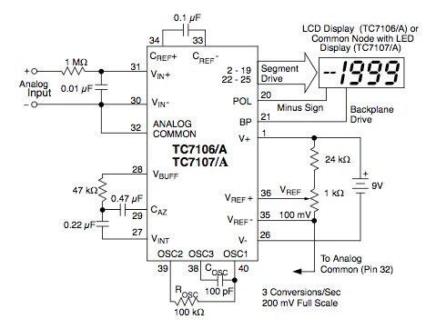 TC7106 – 3 1/2 Digit ADC for LCD Display
