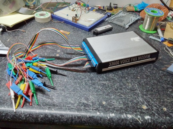 Logic Sniffer in a 33.6Kbps modem case
