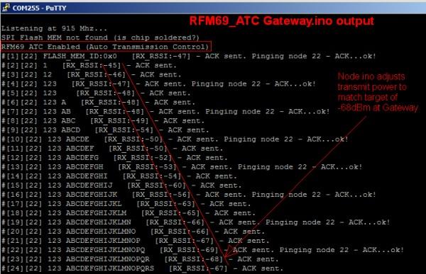 RFM69_ATC: Automatic Transmission Control