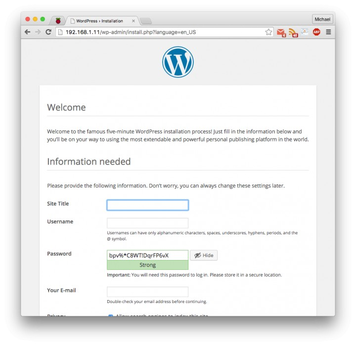 Create a WordPress Site on Raspberry Pi