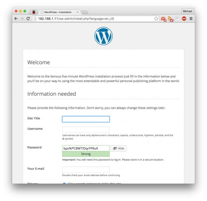 Create a WordPress Site on Raspberry Pi