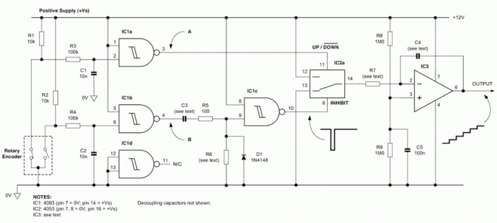 Control accurate incremental voltage steps with a rotary encoder