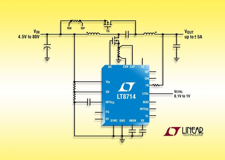 LT8714 – 80V/5A synchronous 4-quadrant DC/DC controller