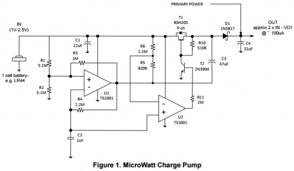 "App note: A microwatt charge pump boosts 1 V to 1.8 V at 90% efficiency, providing ""Always On"" s ..."