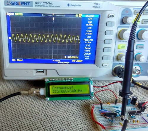 100MHz frequency counter using PIC16F628A