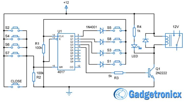 Simple code locker circuit using CD4017