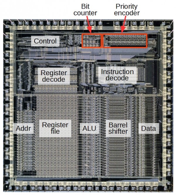 Counting bits in hardware: Reverse engineering the silicon in the ARM1 processor