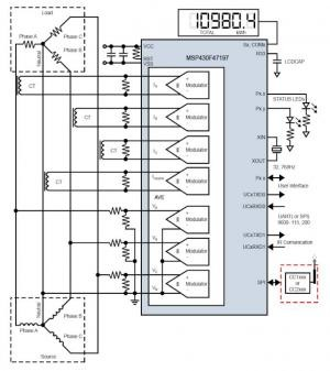 Implementation of a Three-Phase Electronic Watt-Hour Meter Using MSP430F471xx