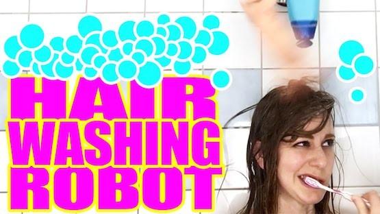 Simone Giertz built a hair washing robot