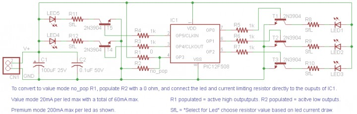5 channel LED candle using PIC12F508