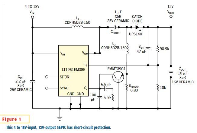 Single transistor provides short-circuit protection