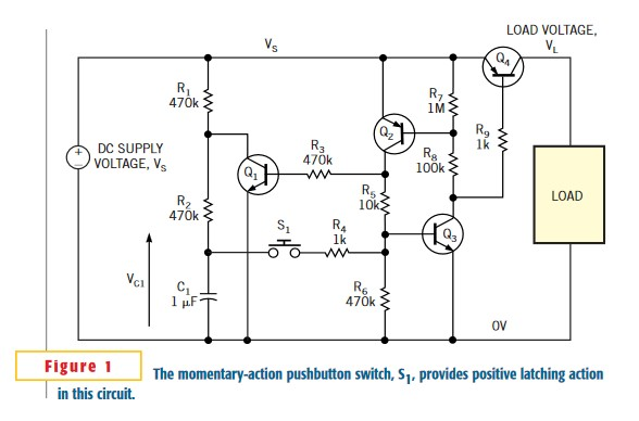Latching power switch uses momentary-action pushbutton