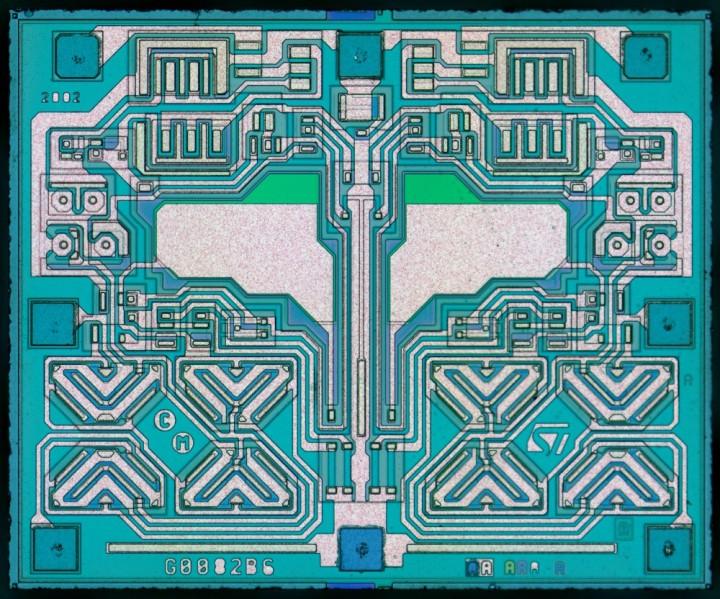 ST TL072 – dual JFET opamp die-shot