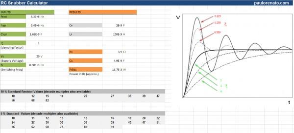RC snubber calculator spreadsheet