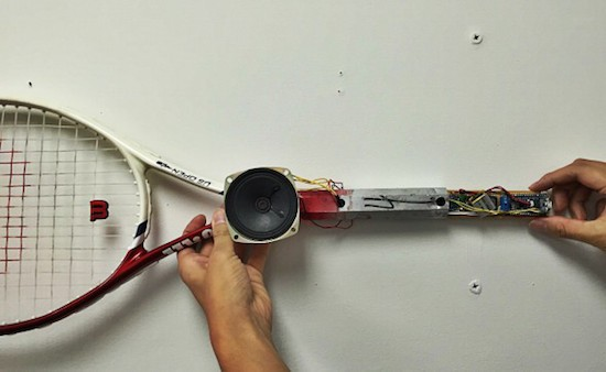 An Arduino tennis racquet that grunts when you swing it