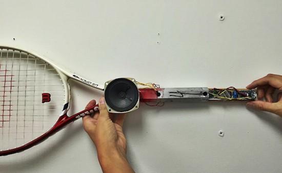 An Arduino tennis racquet that grunts when you swing it