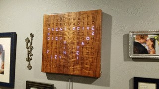 Check the time on a beautiful wooden word clock 3